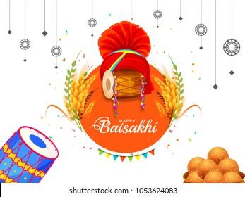 Illustration Of Happy Baisakhi Celebration Background.