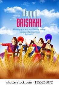 Illustration Of Happy Baisakhi Celebration, card , invitation card ,banner festival in Punjab, India