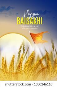 Illustration Of Happy Baisakhi Celebration Vaisakhi, also known as Baisakhi, festival in Punjab