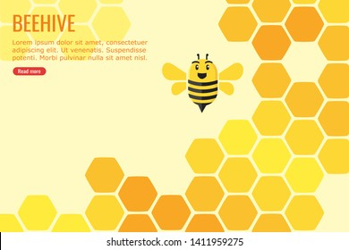 Illustration of a happy bee in a beehive full filled with honey suitable for info-graphic, web and mobile website development