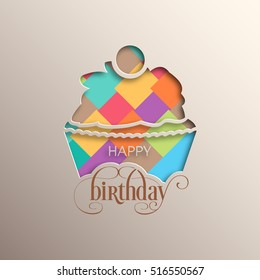 Illustration of happy birthday with beautiful cupcake and calligraphy.