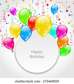 Illustration Happy Birthday Card with Set Balloons and Confetti - Vector