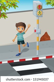 Illustration of a happy boy waving his hand near the pedestrian lane