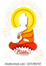 illustration of Happy Buddha Purnima Vesak Lord Buddha in meditation