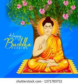 illustration of Happy Buddha Purnima Vesak Lord Buddha in meditation