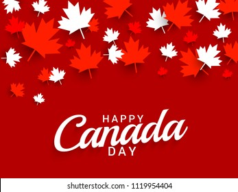 Illustration Of Happy Canada Day Card Background.
