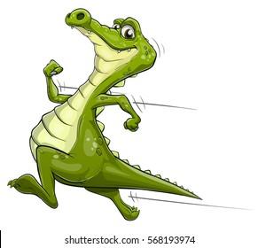 Illustration of a happy cartoon alligator running fast