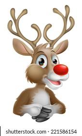 An illustration of a happy cartoon Christmas Reindeer
