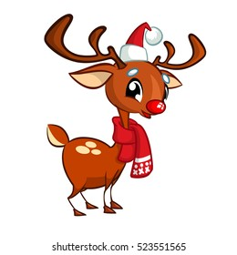 Illustration of a happy cartoon Christmas Reindeer Rudolph with scarf. Vector character