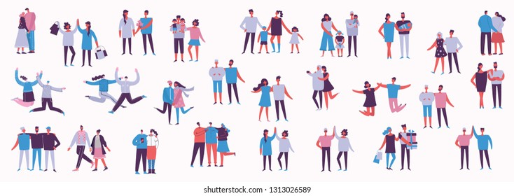 Illustration with happy cartoon couples of people. Happy friends, parents, lovers on date, hugging, dancing, couples with kids. Vector illustration isolated on light background