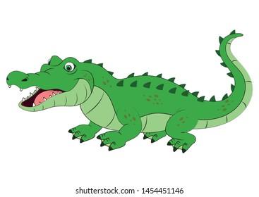 Illustration of a happy cartoon crocodile isolated on white background - Vector crocodile