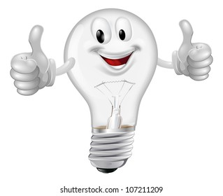 Illustration of a happy cartoon lightbulb man giving a thumbs up