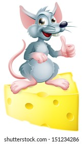 An illustration of a happy cartoon mouse or rat that has got the cheese, giving a thumbs up.