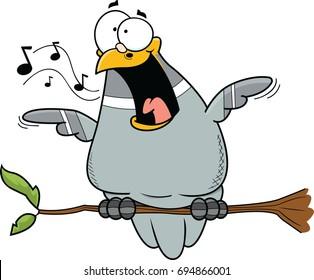 Illustration of a happy cartoon pigeon.