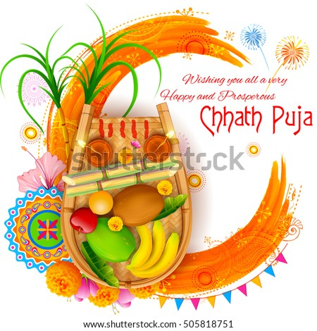 Illustration Happy Chhath Puja Holiday Background Stock Vector