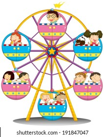 Illustration of the happy children riding the Ferris wheel on a white background