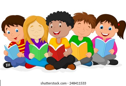 Illustration of Happy Children Sitting while Reading Books
