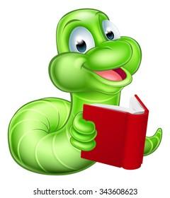 An illustration of a happy cute green cartoon caterpillar worm bookworm mascot reading a book