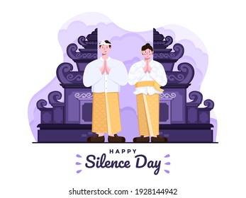 Illustration of Happy day of silence and Hindu saka new year 1943 in indonesian selamat hari raya nyepi dan tahun baru saka hindu 1943. Bali people wear traditional outfit. Galungan,Kuningan tradition
