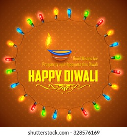 illustration of Happy Diwali background decorated with light garland arrangement