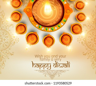illustration of Happy Diwali, diwali big sale illuminated oil lamps on blurred glossy background for shubh Diwali or Deepawali with creative illustration, greeting card design