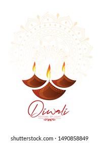 illustration of Happy Diwali burning diya with background for light festival of India