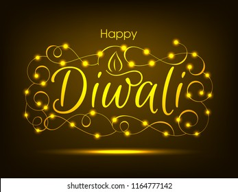 Illustration of Happy Diwali with intricate calligraphy and Diya for the celebration of Hindu community festival.