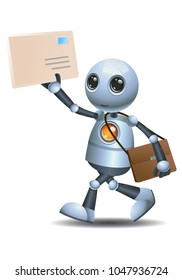 illustration of a happy droid little robot delivering envelope mail on isolated white background