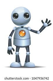 illustration of a happy droid little robot hi five on isolated white background