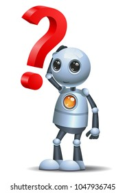 illustration of a happy droid little robot and a question symbol on isolated white background