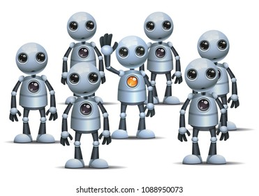 illustration of a happy droid little robot be different on crowd on isolated white background