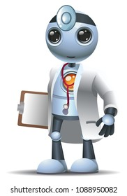illustration of a happy droid little robot  surgery doctor on isolated white background