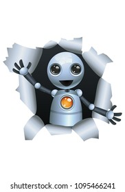 illustration of a happy droid little robot emerging the wall on isolated white background