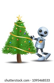 illustration of a happy droid little robot hug christmas tree on isolated white background