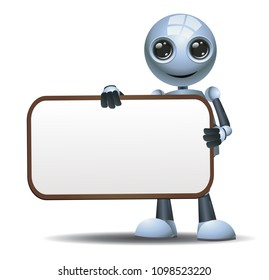 illustration of a happy droid little robot hold blank sign board on isolated white background
