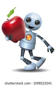 illustration of a happy droid little robot hold apple on isolated white background