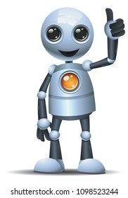 illustration of a happy droid little robot thumb up on isolated white background