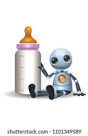 illustration of a happy droid little robot hold baby bottle on isolated white background