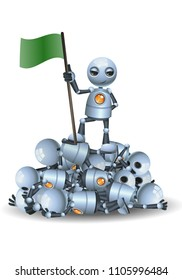 illustration of a happy droid little robot hold flag on top of pile of other robots on isolated white background