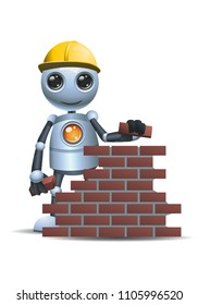 illustration of a happy droid little robot hold brick then building wall on isolated white background
