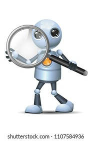 illustration of a happy droid little robot hold magnifier glass on isolated white background