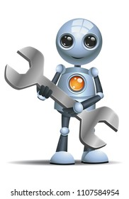 illustration of a happy droid little robot hold mechanic tool wrench on isolated white background