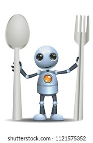 illustration of a happy droid little robot hold spoon and fork on isolated white background