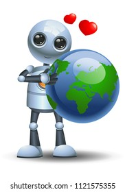 illustration of a happy droid little robot hugging globe loving the earth on isolated white background