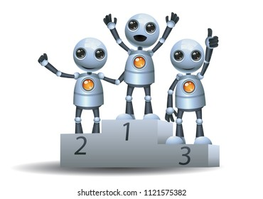 illustration of a happy droid little robot on top of winner podium on isolated white background