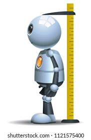 illustration of a happy droid little robot measuring height on isolated white background