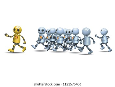 illustration of a happy droid little robot leading of running pack on isolated white background