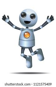 illustration of a happy droid little robot jump in happiness on isolated white background