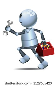 illustration of a happy droid little robot  mechanic running on isolated white background