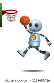 illustration of a happy droid little robot plays basket ballon isolated white background